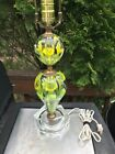 MCM St Clair Paperweight Lamp Yellow CALLA LILIES