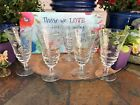 VINTAGE SET OF 7 CLEAR CRYSTAL GLASS ETCHED GLASSES GOBLETS