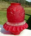 Fenton Ruby Red Satin Embossed Rose 3 pc Fairy Lamp GorgeousLG Wright