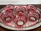 SET 6 VAL ST LAMBERT CUT GLASS CRYSTAL PINK ROSE COLOR DESSERT FRUITS BOWLS