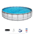 Coleman 22 x 52 Power Steel Frame Swimming Pool Set w Pump Ladder  Cover