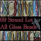 GLASS BEADS69 Strand Lot 3 12mm Round Cube Bicones Oval Cones FacetedL42