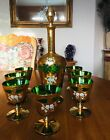 Antique Czech Moser Bohemian Green Heavy Gold w Enameled Flower Decanter Set