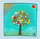 Murano Glass Tree of Life Plate Large Teal 5