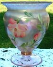 FENTON ART GLASS SUNSET STRETCH FOOTED HP FLORAL FLOWERS Vase 6H