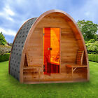 ALEKO Outdoor Rustic Cedar Barrel Steam 8 Person Sauna Pod with Roofing Heater