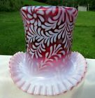 Fenton Large Cranberry Opalescent Daisy Fern Top Hat Vase 775H x 875W SCARCE