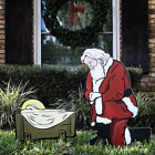Kneeling Santa Outdoor Nativity Set  Weatherproof Santa Nativity Scene for Yard