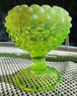 FENTON TOPAZ VASELINE OPALESCENT HOBNAIL Footed VASE 475H GLOWS
