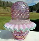 Fenton Pink Carnival Glass Hobnail Lamp 3 pc Fairy Lamp Mint