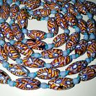 ANTIQUE VINTAGE VENETIAN MURANO MATCHED CANE MILLEFIORI GLASS BEAD NECKLACE