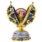Blue Faberge Egg Replica Trinket BoxSpring Flower BouquetEaster Gift85 cm
