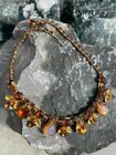 Vintage Signed Weiss Faux Opal Topaz Cats Eye Rhinestone Statement Necklace