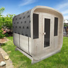 ALEKO Outdoor Pine Wood Barrel Rounded Square 4 Person Sauna Roofing ETL Heater
