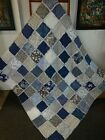Navy  Gray XL Rag Quilt Throw Navy Deep Blue  Shades of Gray Cotton HM NEW