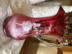 Mary Gregory cranberry Hand blown glass pitcher vase