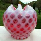 Fenton 50s Cranberry Opalescent Honeycomb Baby Dot Large Rose Bowl 5H