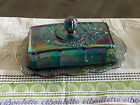 Vintage Indiana Blue Harvest Grape Carnival Glass Butter Dish with Lid