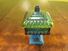 Vintage Jeannette Green to Blue Flashed Glass Compote Candy Dish