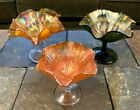 Assortment of Antique Fenton Carnival Glass Compotes Marigold  Green