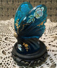 Fenton Glass Hand Pinted Signed Turquoise Blue Butterfly Gold Gilt 4 1 4x3 1 2
