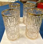 Vintage Set of 4 Imperial Glass Co Raised 22k Gold Highball Glasses