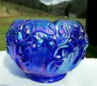 Fenton 1980s Cobalt Blue Carnival Lily Of The Valley Rose Bowl Art Glass