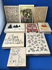 Lot of 9 Extra Large Rubber Stamps Variety Background Bear Seasons A4
