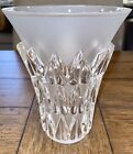 LALIQUE VASE Frosted & Clear Crystal FEUILLES 7.5