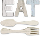 EAT Sign + Fork and Spoon Wall Decor for Kitchen  Rustic Farmhouse Decoration