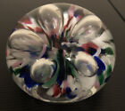 Signed Gibson 1996 Blown Glass Art Glass Paperweight Multicolor Confetti Bubbles