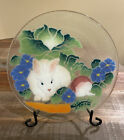 Peggy Karr Fused Glass Bunny Round Tray 11 With Stand