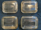 PYREX 501C LIDS ONLY REFRIGERATOR DISHES SMALL RIBBED CLEAR GLASS