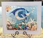 Tropical Blue Fish Glass Wall Art Fused in Resin Sea Shells Starfish Teal Coral