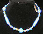NWT Handmade Italy Murano Blue Gold Glass Bead Necklace Brand New Tags 16