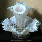 1948 Fenton French Opalescent Diamond Lace 12 Epergne blue crest