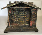 Vintage Germany Wooden Nativity Creche Manger Stable Textured Nice