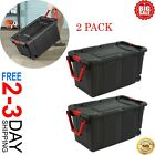 Wheeled Industrial Tote Plastic Storage Container Box 40 Gal Black Set of 2