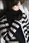 1 3 UncleSD17 SSDF ID72 75 BJD Clothes Doll Outfit BlackWhite Knitted Cardigan