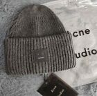 Acne Studios Pansy Winter Beanie Hat Face Embroidered Gray Genuine NWT Real