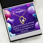 Daughter Birthday Necklace Make a Wish Forever Love CZ Heart Pendant Message Car
