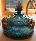 Vintage Indiana Glass Blue Carnival Princess Candy Bowl Iridescent
