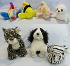 TY Beanie Buddies:  LIPS, BUBBLES, CORAL, SEAL, SNEAKY, FROLIC, WHITE TIGER
