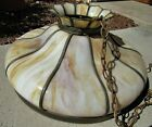 LARGE 24 GORGEOUS ANTIQUE ART NOUVEAU SLAG GLASS 10 PANEL HANGING LIGHT SHADE