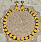Vintage VENDOME Signed Yellow Lucite  Black Glass Bead Necklace Earrings N48