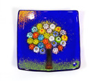 Murano Glass Tree of Life Plate Small Cobalt