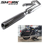 2 into 1 Exhaust Pipe 4 Muffler for Harley Touring 1995 2016 Chrome
