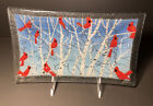 Peggy Karr 10 Signed Fused Glass Cardinal Birds Tray
