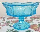 Vintage Fostoria Blue Frosted Coin Glass Large Footed Compote Bowl