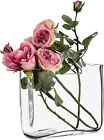 Clear Glass Decorative Shopper Bag Vase Perfect for Mothers Day H24cm